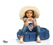 Happy tourist girl. Isolated over white background Royalty Free Stock Photos