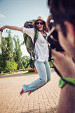 Happy Tourist Girl Posing For Photo Royalty Free Stock Photography