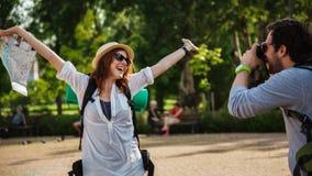 Happy Tourist Girl Posing For Photo Stock Image
