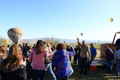 Happy tourists after Hot air balloon tour Cappadocia Turkey Royalty Free Stock Image