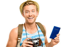 Happy tourist holding passport retro camera isolated on white Royalty Free Stock Image
