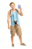 Happy tourist holding passport retro camera isolated on white Stock Photo