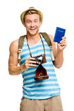Happy tourist holding passport retro camera isolated on white Stock Photos