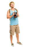 Happy tourist holding retro camera isolated on white Stock Image