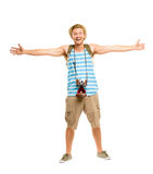 Happy tourist holding retro camera isolated on white Royalty Free Stock Image
