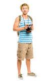 Happy tourist holding retro camera isolated on white Royalty Free Stock Photography
