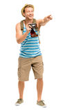 Happy tourist holding retro camera isolated on white Royalty Free Stock Images