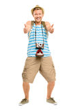 Happy tourist holding retro camera isolated on white Stock Images
