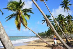 Playa LImon beach on Dominican Republic. Happy tourist on the Limon beach wild and hard to reach on the south coast of Dominican Republic Royalty Free Stock Photo