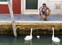 Happy tourist  man in Burano ,Venice, Italy Stock Photography