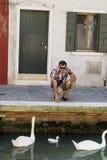 Happy tourist  man in Burano ,Venice, Italy Stock Photo