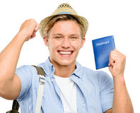 Happy tourist man holding passport isolated on white background Royalty Free Stock Image