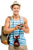 Happy tourist man photographing vintage camera isolated on white Stock Image