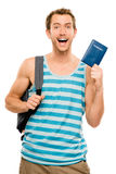 Happy tourist man travel passport adventure Royalty Free Stock Images