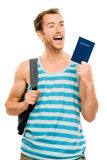Happy tourist man travel passport adventure Stock Photo