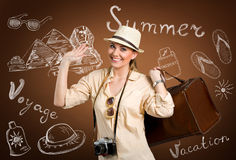 Happy tourist over design background stock images