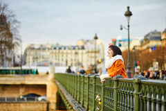 Happy tourist in Paris on a winter or spring day Royalty Free Stock Image