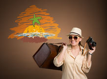 Happy tourist with photo camera Royalty Free Stock Photography