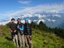 Happy tourist at Poon Hill, Nepal Stock Photo