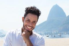 Happy tourist at Rio de Janeiro Stock Photos