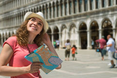 Happy tourist at San Marco square in Venice Royalty Free Stock Photos