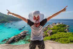 Happy tourist Similan Islands Royalty Free Stock Image