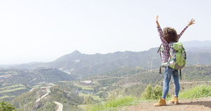 Happy tourist on summit Royalty Free Stock Images