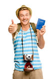 Happy tourist thumbs up passport retro camera isolated on white Stock Images
