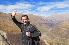 Happy tourist traveler Stock Images
