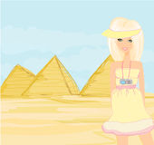 Happy tourist visits the Pyramids Stock Images