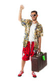 Happy tourist waving Stock Photos