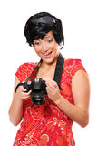 Happy tourist wit a camera Stock Photography