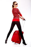Happy tourist woman Stock Images