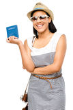Happy tourist woman holding American Passport isolated white bac Stock Image