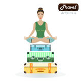 Happy tourist woman in the lotus posture. Isolated over white ba Royalty Free Stock Photography