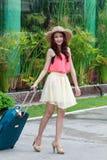 Happy tourist woman Stock Image