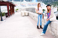 Happy tourist womans Stock Images