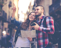 Happy tourists on excursion Royalty Free Stock Image