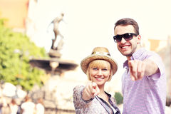 Happy tourists in Gdansk Stock Photo