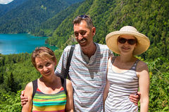 Happy tourists looking at camera Royalty Free Stock Photography