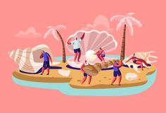 Happy Tourists Man and Woman Stand at Huge Seashell with Beautiful Pearl on Tropical Island Beach with Palm Trees. Summer stock illustration