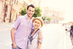 Happy tourists in the Old Town Stock Photos