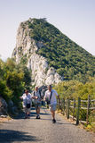 Happy tourists on the Rock of Gibraltar Stock Photos