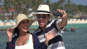 Happy Tourists Selfie On Vacation stock footage