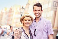 Happy tourists sightseeing the city Royalty Free Stock Photo