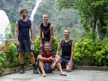 Happy tourists on trek. Ghermu village - Marsyangdi river valley - Annapurna Circuit Trek in Nepal stock photo