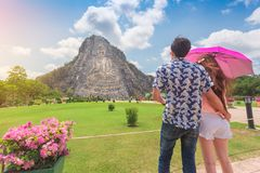 Happy tourists, Young couple looking Bhudda Mountian at khao che stock photo