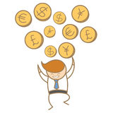 Happy trading various currency Royalty Free Stock Photography
