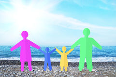Happy traditional family on the seaside Stock Photography