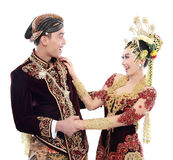 Happy traditional java wedding couple Royalty Free Stock Image